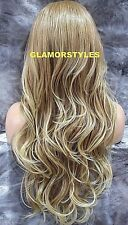 "34"" Long Wavy Layered Blonde Mix Full Lace Front Wig Heat Ok Hair Piece #27/613"