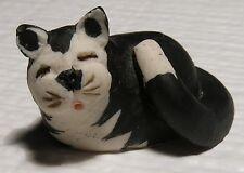 Vintage Miniature Black & White Cat Figurine PS Logan 1983 Scotland Handmade
