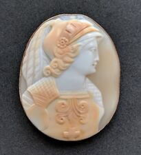 Antique Victorian Shell Cameo 9ct Gold Brooch Pin Athena Goddess of War