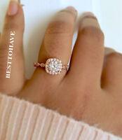 Ladies 925 Sterling Silver Rose Tone Wedding Engagement Ring