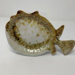 Pottery Barn Small Puffer Fish Shaped Melamine Tidbit Plate NEW