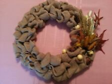 "BURLAP WREATH -  Handmade w. Fall colored leaves, & stems - 16"" total diameter"