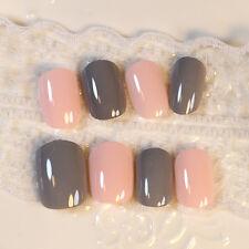 24Pcs Hot Candy Orange Grey Pre Design Acrylic Nail Tips Simple Short Oval Nails