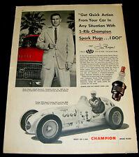 JIMMY BRYAN 1955 ADVERTISEMENT CHAMPION SPARK PLUG INDY 500 FORMULA ONE CHAMPION