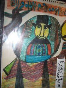 John Mason  FOLK ART PAINTING  OUTSIDER VINTAGE  #14 Top Hat