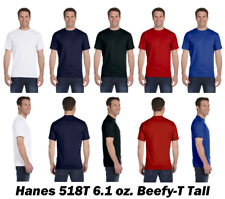 ss Hanes Beefy-T TALL TAGLESS T-Shirt 100% Cotton 518T Men LT-4XLT  B3G1