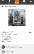 White B&Q Pvc patio door Fixed Glazed 1 part of 3 New 6ft sliding doors french