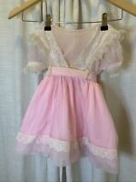 Vintage Baby Girl Pink Sheer Chiffon Nylon Lace Ruffle Dress Frilly Size 4