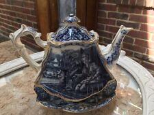 Burgess & Leigh The Geisha #2 Blue Transferware White & Gold Teapot C. 1898