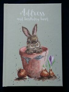 """WRENDALE Address and Birthday book NEW DESIGN """"Bunny and Flower Pot"""" by Hannah D"""