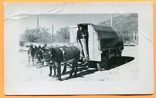 Man in Donkey Wagon Mobile Home, Old Real Photo Postcard circa 1940s