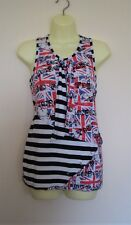HELL BUNNY London Union Jack Punk Top + Neck / Head Tube - Safety Pins - Size: S