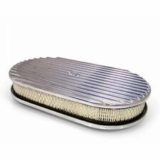 """15"""" Full Finned Polished Aluminum Oval Retro Air Cleaner Assembly Kit w/ Element"""