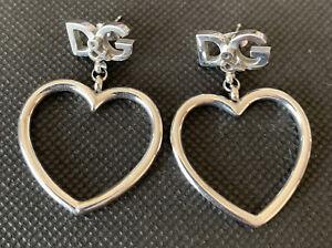 D&G Earrings Dolce and Gabbana Silver Tone Steel Hearts Pierced Dangle Genuine