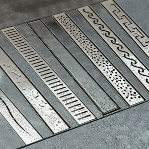 Edelstahl Bodenablauf Duschrinne Ablaufrinne Siphon Dusche 50 - 120 cm 7 Muster