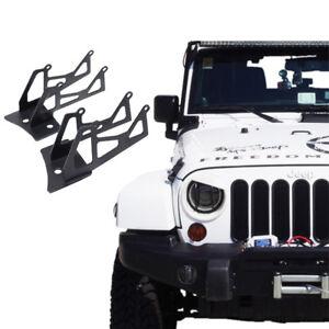For 07-18 Jeep Wrangler JK Windshield Mounting Brackets Lower Corner Dual Lights