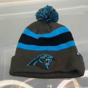 Carolina Panthers 47 Brand Winter Hat. New NWT Gray Beanie Cap. NFL Football