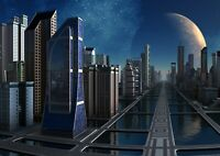 A4| Awesome Futuristic City Poster Size A4 Sci-Fi Landscape Poster Gift #14349