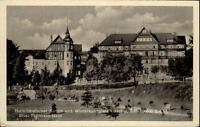 Oberhof Thüringen DDR AK ~1950/60 Partie am Ernst Thälman Haus Fachwerk Anlagen
