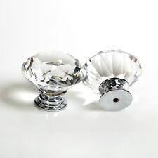 8 Clear Crystal Glass Door Knobs Diamond Handles Cabinet Furniture Cupboard