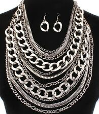 Large Multi Layer Silver Amazing Look Necklace & Earring Set Women Jewelry