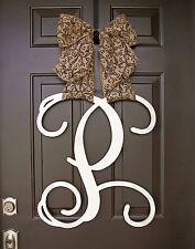 Wooden UNFINISHED monogram door hanger/SINGLE custom Initial/decor/wedding gift