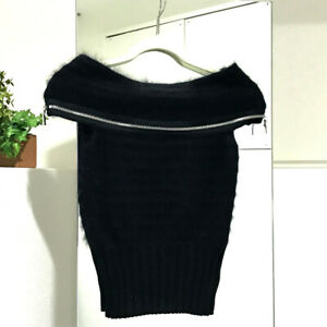 CHANEL P33520K00867 08A Off the shoulder Sweater Knit Top Black