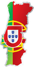 "Portugal Country Flag Map Car Bumper Window Mirror Sticker Decal 3""X6"""