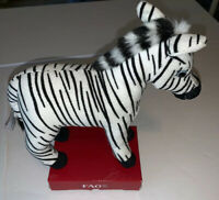 "GQ.  FAO Schwarz Toys R Us Plush Stuffed Animal Toy Zebra New! 7"" Tall"