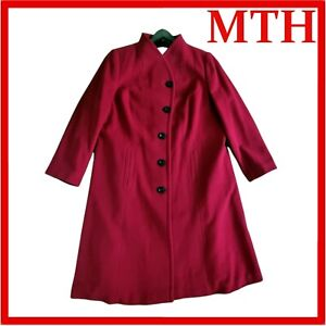 Red Wool & Cashmere Coat Blend Button Up Ladies WINDSMOOR 3/4 UK Size 20  - VGC