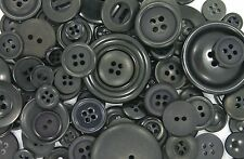 100 BLACK Mixed Sized Buttons New - Great for Sewing Craft Scrapbooking & more