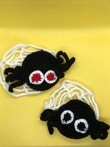 SALE! Handmade Spiders Web Halloween Black Orange Funny Scary Crochet