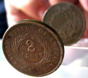 MINT ERROR - UNITED STATES 1864 2 CENTS, UNION SHIELD - DIE ROTATION 45°