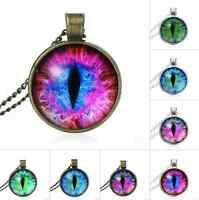 Cabochon Glass Bronze Vintage PURPLE Blue Green Cat Eye Pendant Necklace Jewelry