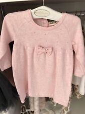 JOTTUM pale Pink Knit Look Dress With Front Bow And Diamanté Detail age 12m Bnwt