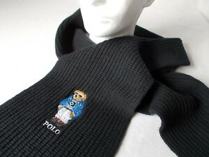 "NWT Polo Ralph Lauren KNIT SCARF BEAR Black Muffler WOOL BLEND 9"" X 72""   Mens"