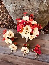 5pc Red and Cream Gerbera Daisy flowers Wedding Bouquet Set Handmade