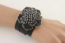 New Women Faux Leather Black Bracelet Butterfly Flower Oval Fashion Rhinestone