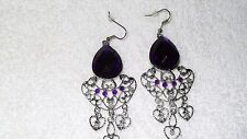 Purple Stone Chandelier Dangle Bollywood Exotic Pair of Earrings Jewelry Fashion