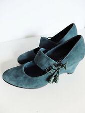 LUC BERJEN Wedge Heel blue Green Suede side Tie Shoes Italy UK 6  Eur 39 US 8