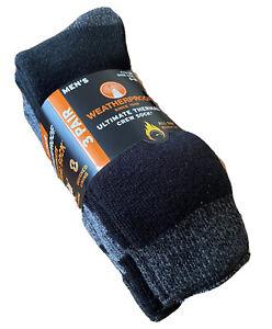 Weatherproof Men's Ultimate Thermal Crew Socks Brushed Lining Cushioned 3 Pairs