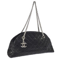 CHANEL Quilted CC Chain Shoulder Bag Black Coated Leather AK31834k