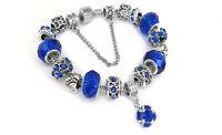 18K White Gold Plated Blue Crystal CZ Charm Bracelet Made with Swarovski Element