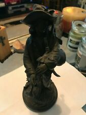 E. Blavier; bronze figure modelled as a peasant man with bagpipes