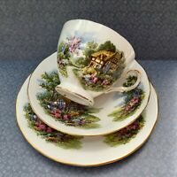 ROYAL VALE TRIO SET CUP SAUCER PLATE THATCHED COTTAGE GARDEN c1960s GILDED CHINA