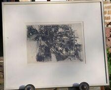 Jens Cords Original-Radierung handsigniert Hamburg 1962 Industriehafen Rahmen