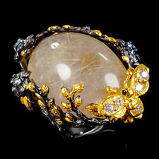 Handmade Natural Rutilated Quartz 925 Sterling Silver Ring Size 8/R105616