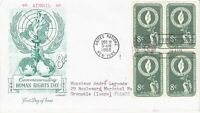 United Nations NY46 - Enveloppe 1er jour 1955 Human Rights Day Airmail 8c