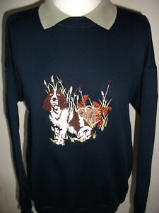 LADIES SWEATSHIRT,JUMPER,TOP WITH AN EMBROIDERED SPANIEL DOG DESIGN,GREEN/GREEN