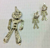 Vintage TAXCO Sterling Silver Clown Brooch & Earrings Set Reticulated Puppet Pin